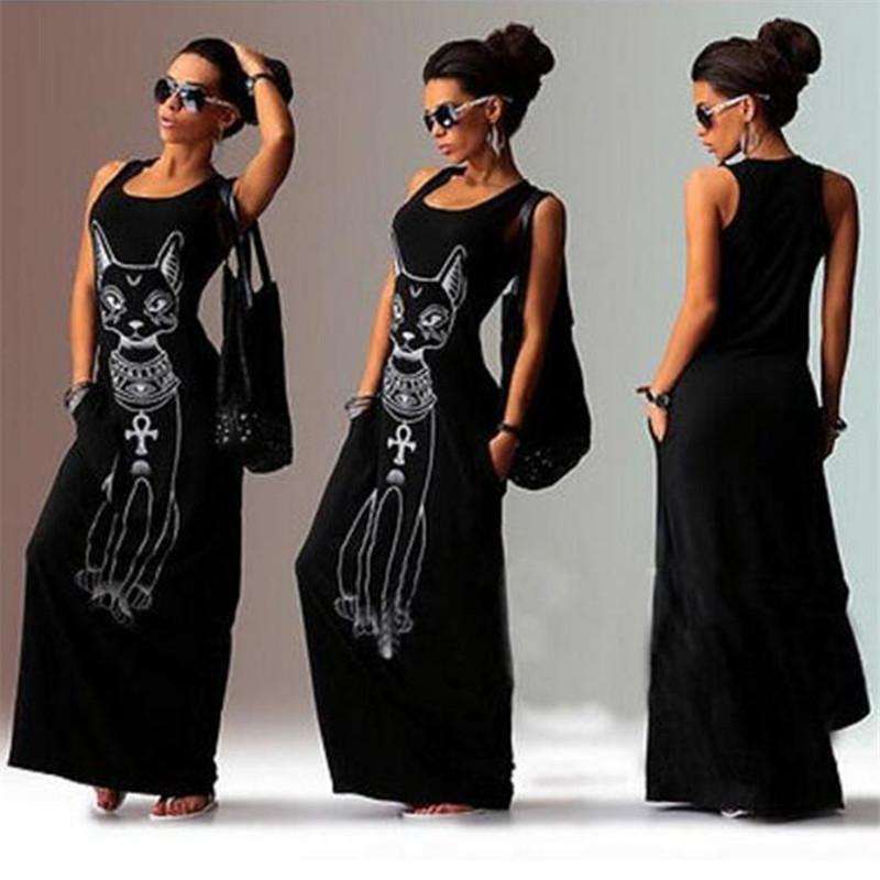 2016 Hot Sale Women Summer Dresses Sexy Cat Print Casual Boho Long Maxi Evening Party Bodycon Beach Dress Vest Sundress Vestidos(China (Mainland))