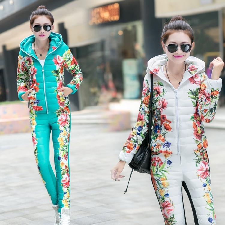 Printed Flower New 2014 Winter Slim dack Dowm jacket desigual Hooded Sport Suit Warm Sets (Coat+Pants) Casual winter Coat Jacket(China (Mainland))