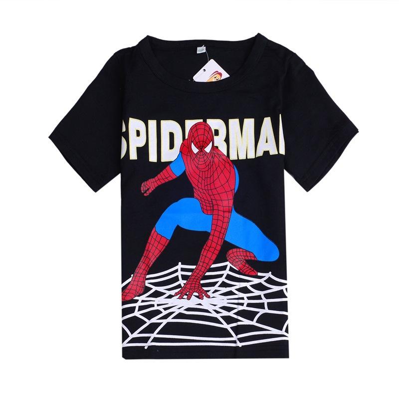 2015 New Design Tops Tees Boys Spiderman T-shirts 100% Cotton Kids Summer t-shirt Baby Printed tshirts Children Cartoon Clothing(China (Mainland))