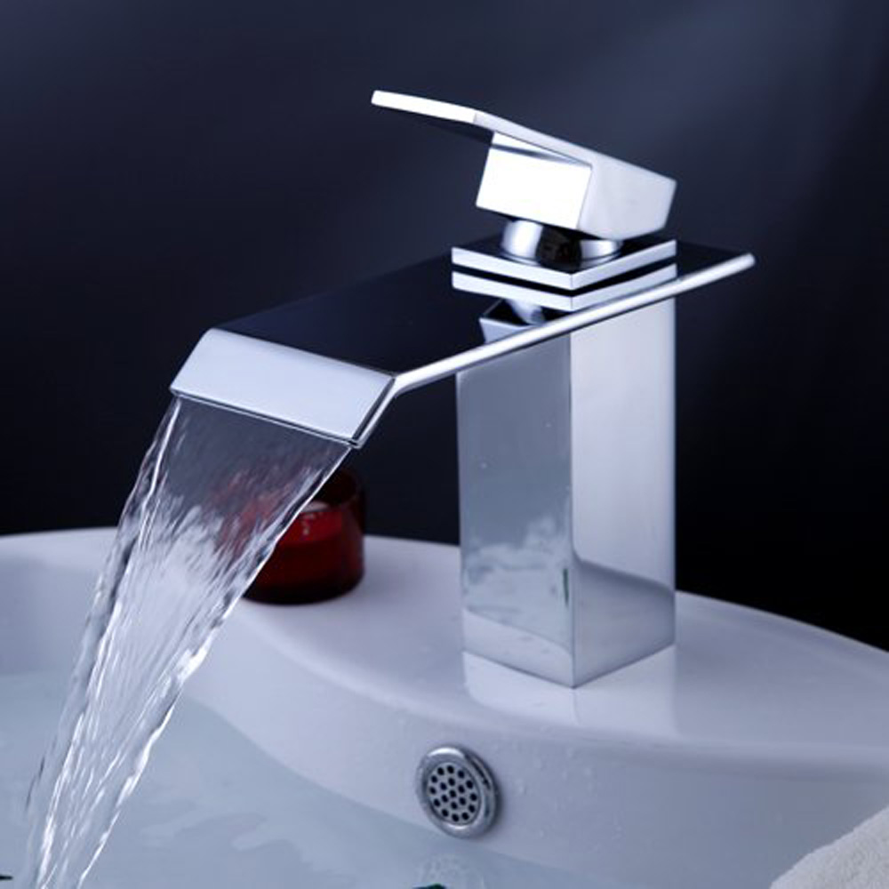 usa stock single handle waterfall bathroom vanity sink faucet with