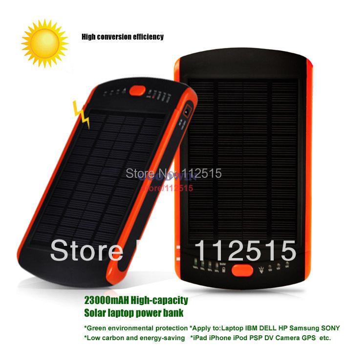 23000mAH Solar Charger Backup Battery 12V 16V 19V For Laptop IBM DELL HP SONY SAMSUNG iPhone 6 iPad DV Tablet PC Batteries Pack(China (Mainland))