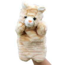 1x Baby Cute Cat Plush Hand Puppet Velour 26cm Kids Animals Zoo Learning Yellow Khaki Baby Learning Toys(China (Mainland))