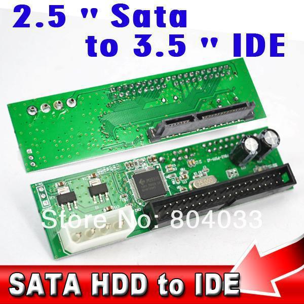 """Sata 2.5 3.5 inch to 3.5"""" IDE 44 pin HDD Hard Disk Driver Adapter Converter 22Pin Sata 15+7 Adaptor for ATA 100 133 HDD DVD CD(China (Mainland))"""