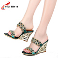 Rhinestone Leather Sandals Summer 2016 New Shoes Woman Rome High Heels Wedged Sandals Large Size 40