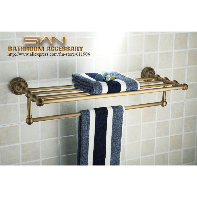 Antique Brass Bathroom Bath Towel Rack Shelf With Tewel