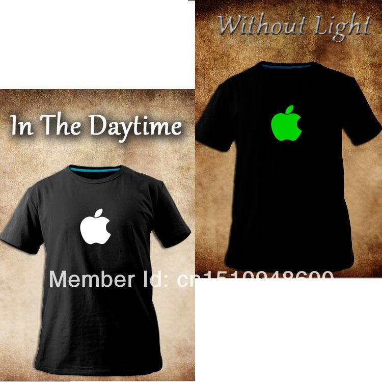sales promotion! luminous,apple ,iphone logo shirt,black o-neck short-tee, novelty nightclub t-shirt ,fashion brand logo top tee(China (Mainland))