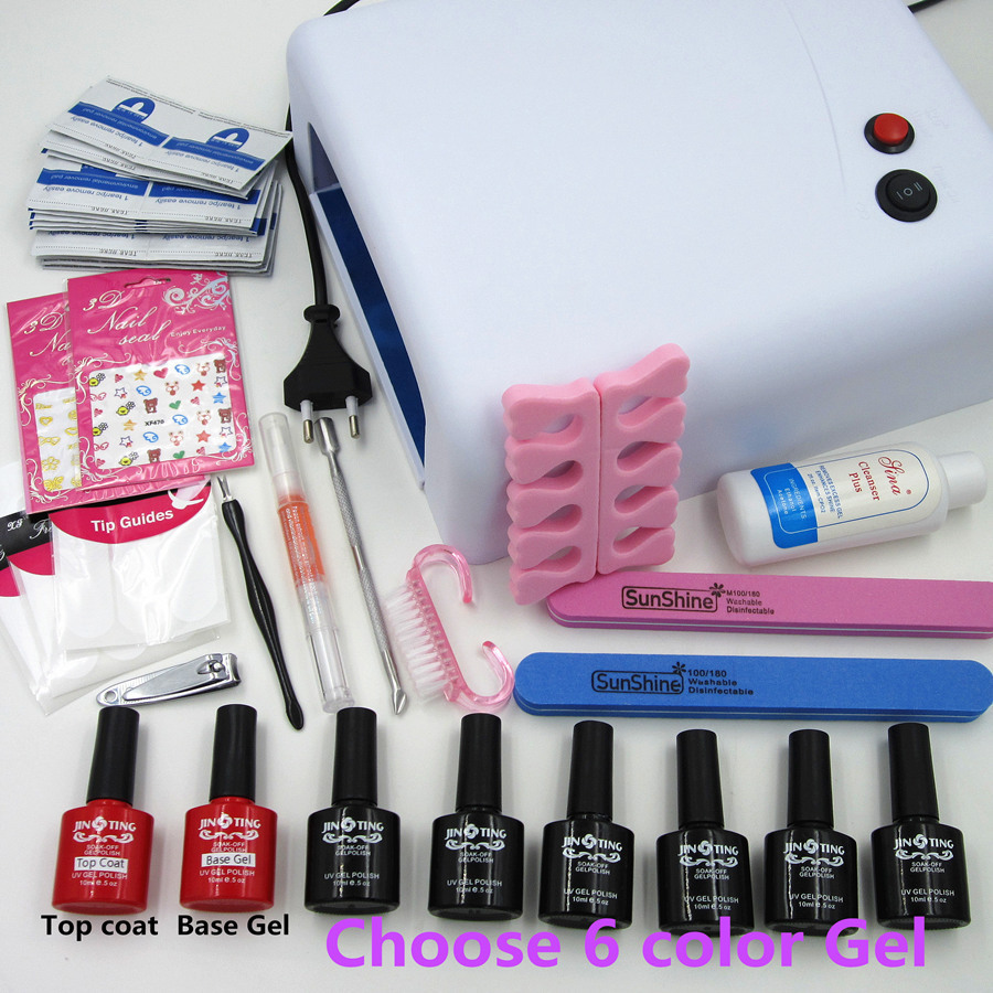 Nail Art Manicure Tools 36W UV lamp+ 6 Color 10ml soak off Gel nail polish with Remover Practice kit BTT-128 Free shipping(China (Mainland))