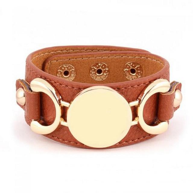 2016 Новый стиль монограмма кожаный браслет манжета браслеты 3 ряда(ов) золото / ...