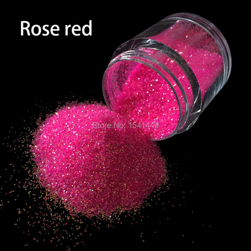 10g/bottle Rose Red 3D Tip Rhinestone Manicure Tools Nail Art Decoration Flash Glitter Polish Nail Glitter Powder Dust #01