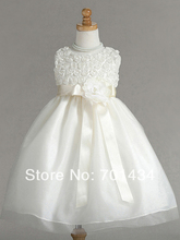 Simple Rose Fabric Ball Gown Flower Girl Dress With Satin Belt Custom Made Ruond Neck Dress For Child