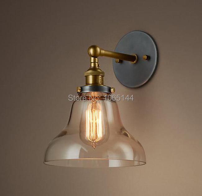 2014 Industry Copper Lamp Holder Glass Wall Lamp Vintage American Restaurant Lights Bedroom Ofhead Mirror Stair Modern Lighting