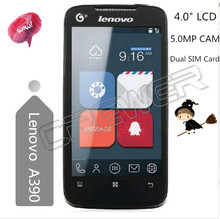 Hot selling bluetooth smartphone Lenovo A390 mobile phone & cellphone with 4.0″LCD 5.0 camera Dual core GPS WIFI 32G TF CARD