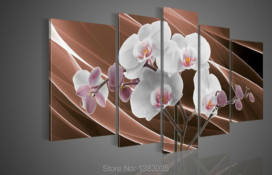 Hand Painted White Orchid Oil Painting Flowers Modern Abstract 5 Panel Canvas Art Wall Decor Picture For Home Sets(China (Mainland))