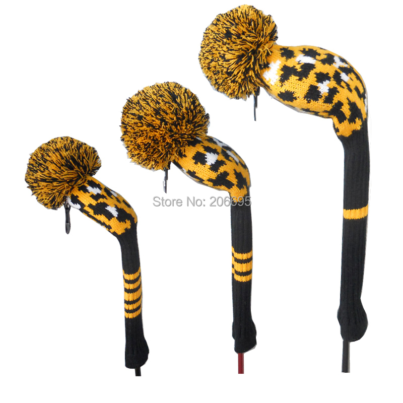Leopard Pattern Inlaid knitted Pom Pom Golf Headcovers for wood clubs, number tag 1#3#5# correspondinly(China (Mainland))