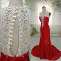 ORP205 real pictures red ivory pearls sleeveless floor length pleated long evening dress