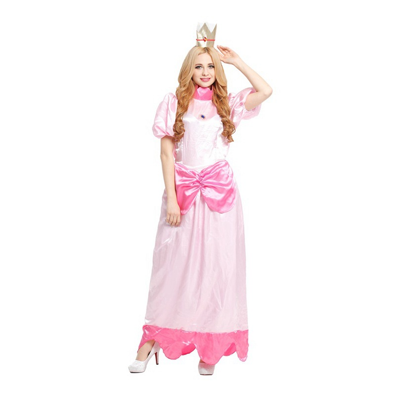 free shipping adult Princess Peach costume women cosplay party halloween costumes for women pink fancy dress(China (Mainland))