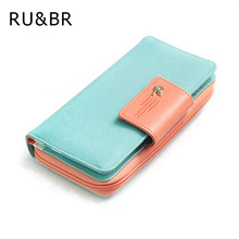 New Fashion Women Wallet Candy Colors Panelled Design Ladies Wallet High Korean Hasp Zipper Purse Clutch Coin Pocket Card Holder(China (Mainland))