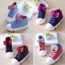New Kids Children Girls Bowknot Polka Dot Sneakers Laces Up Sports Casual Shoes Free shipping(China (Mainland))