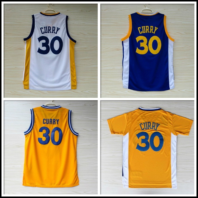 Golden State #30 Stephen Curry Basketball Jerseys, Cheap Stephen Curry White Blue Yellow Basketball Jersey, S-2XL Free Shipping(China (Mainland))