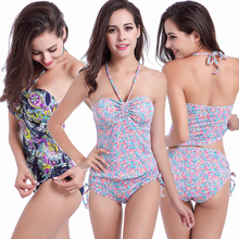 2016 Newly Design Summer Women Halter Push Up Tankinis Print Fashion Ladies Spring Bathing Suit Beach wear Swimsuit Swimwear