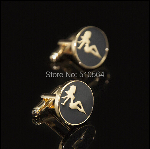 Classic enamel technology Beauty girl Cufflinks,4 color Choice(China (Mainland))