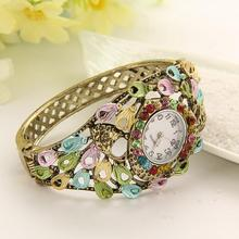 Vintage 10 Colors GENEVA Bangle Watches 18k Gold Filled Crystal Flower Women Bracelet Dress Quartz Watch Casual Wristwatch LZ097(China (Mainland))