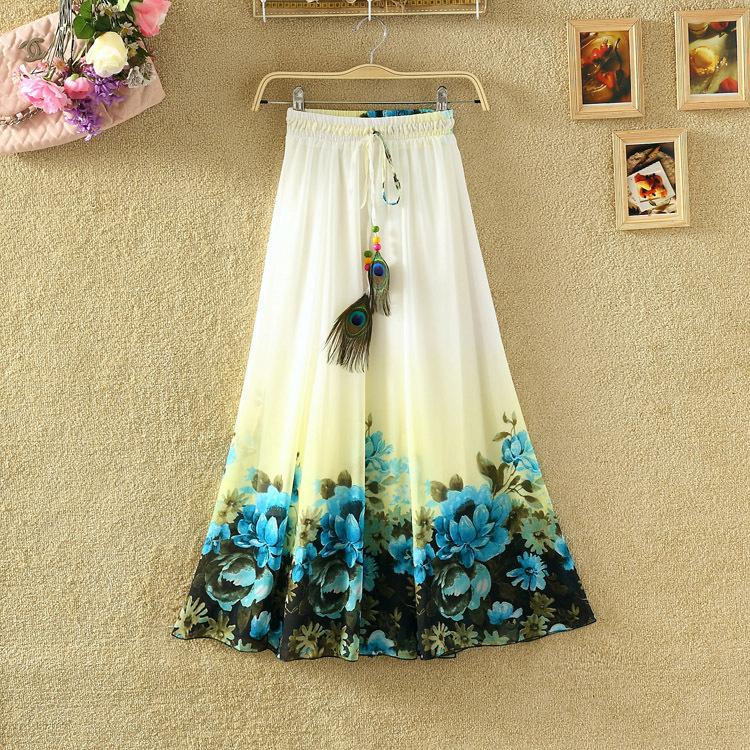 2015 New Style Summer Bohemian Style Print Skirt Empire Skirt Maxi Skirt For Women(China (Mainland))