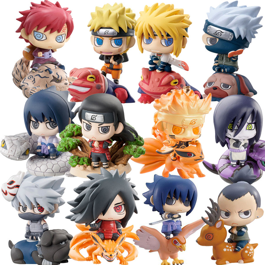 6pcs set Funko Pop Naruto Sasuke Uzumaki Kakashi Gaara Action With Mounts Figures Japan font b