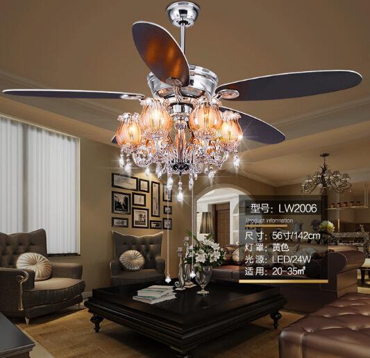 56 Inches European Luxury Crystal Ceiling Fan Led Strip