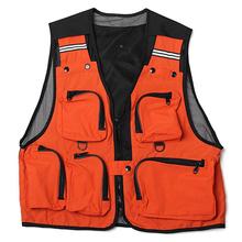 Легкий, удобный, с карманами рыболовный сетчатый жилет охотничий жилет открытый жилет серый/бежевый/черный/синий/оранжевый/красный/белый(China)