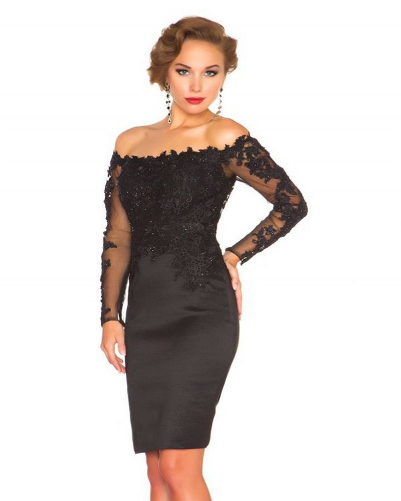 Sexy off the shoulder lace long sleeve black cocktail for Cocktail dress with sleeves for wedding