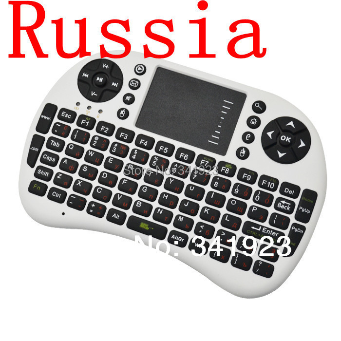 2.4GH white Mini Russian Version Wireless Keyboard Touchpad Mouse Combo HDPC Win7 Pad Google Andriod TV Box - Concession Stand store