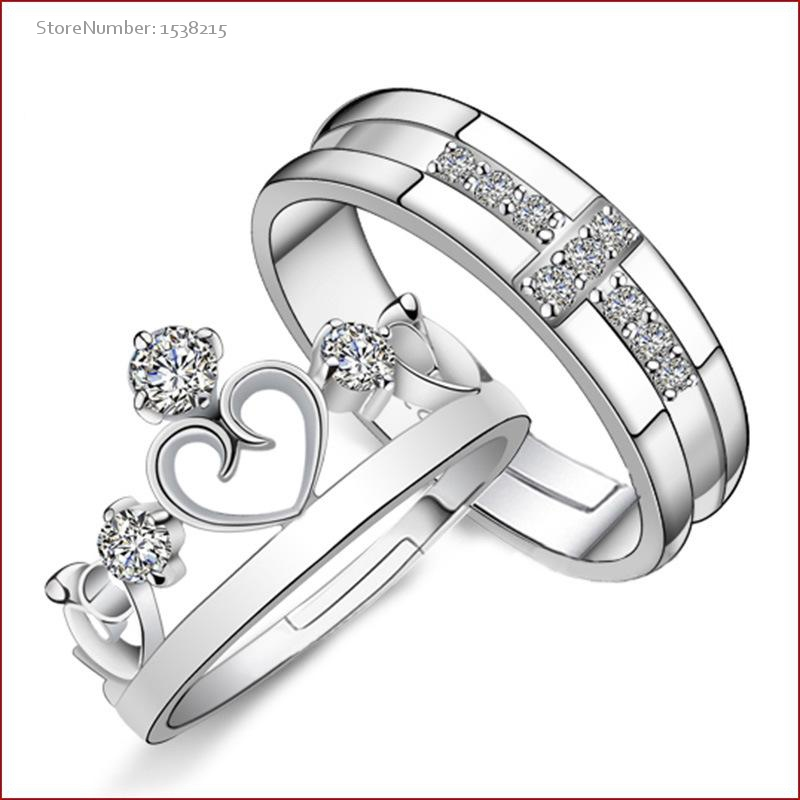 Cheap Wholesale Hand Silver Couple Rings Crown Princess and Prince Women and Men Marry Rings(China (Mainland))