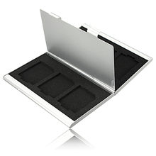 Newest 6 Slots Top Quality Dougle-desk Aluminum Storage Box For SD SDHC SDXC MMC Memory Card Case Holder Protector Free Shipping(China (Mainland))