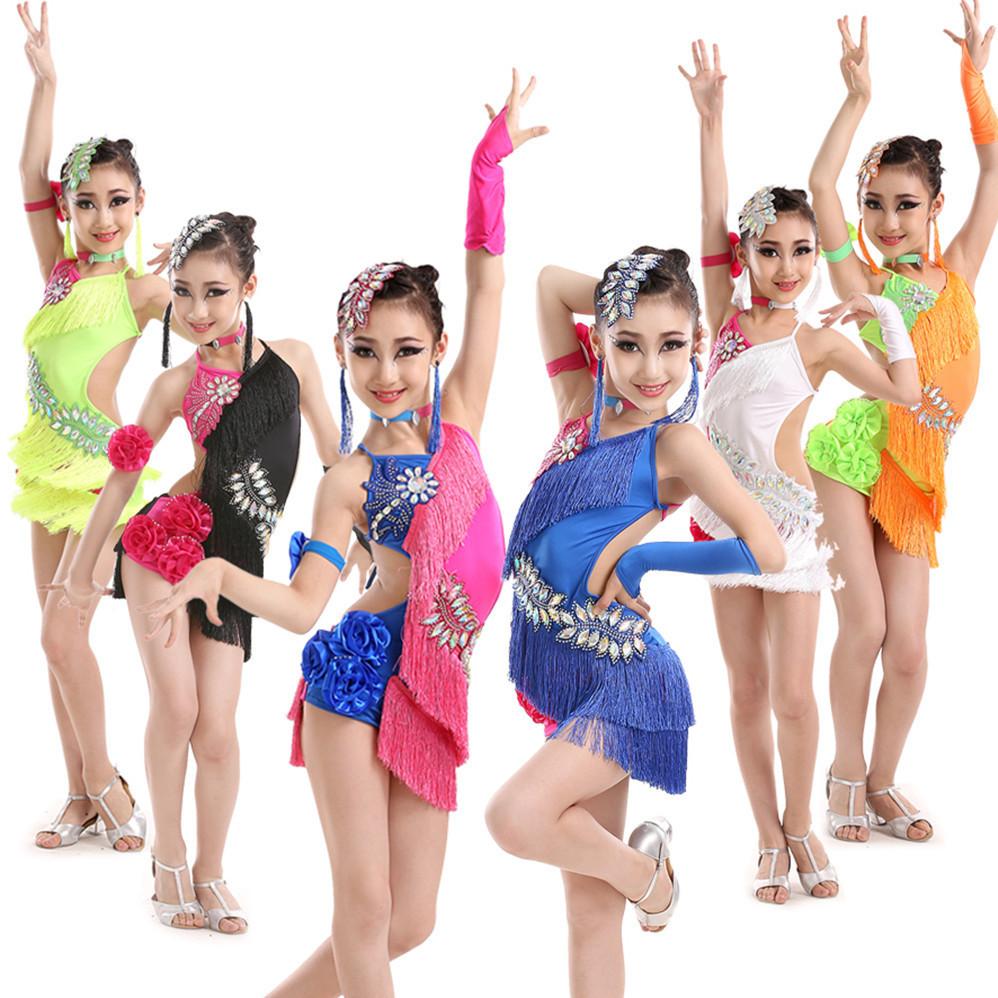 NEW child tassels Latin Dance Dresses Kids Ballroom Dresses Girls ...