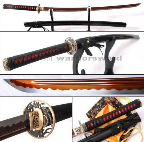 Red Blade Katana Sword Sharp Full Tang Japanese Samurai Sword White Hamon #327(China (Mainland))