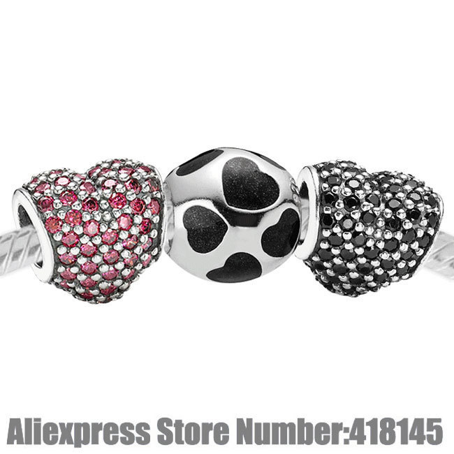925 Sterling Silver Charms Set with Charm Box Fits European Bracelet - Mi Amor Set<br><br>Aliexpress