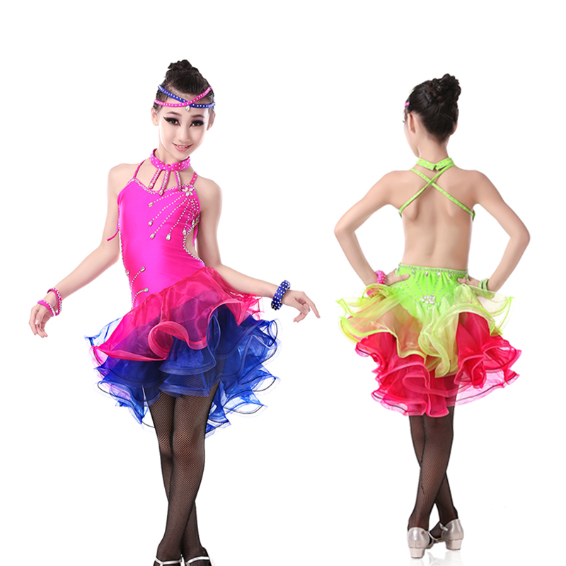 Free Shipping Children Open Back Cocktail Latin Ballroom Dresses Kids Salsa Performance Sexy Dresses Dance Latine For Girls