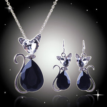 Hot sales !!! fashion Women's 18 k white gold plated Austrian Crystal lovely cat Jewelry Sets Chain Necklace+Earrings(China (Mainland))