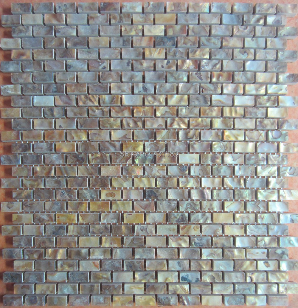 Gold color tiles wholesale natural color MOP shell wall mosaic tiles brick tile for interior decoration Free shipping<br><br>Aliexpress
