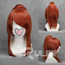 Wholesale& heat resistant LY free shipping>>>Sengoku Musou 3-OICHI Brown-red Anime Cosplay Party Wig Hair+1Clip on Ponytail