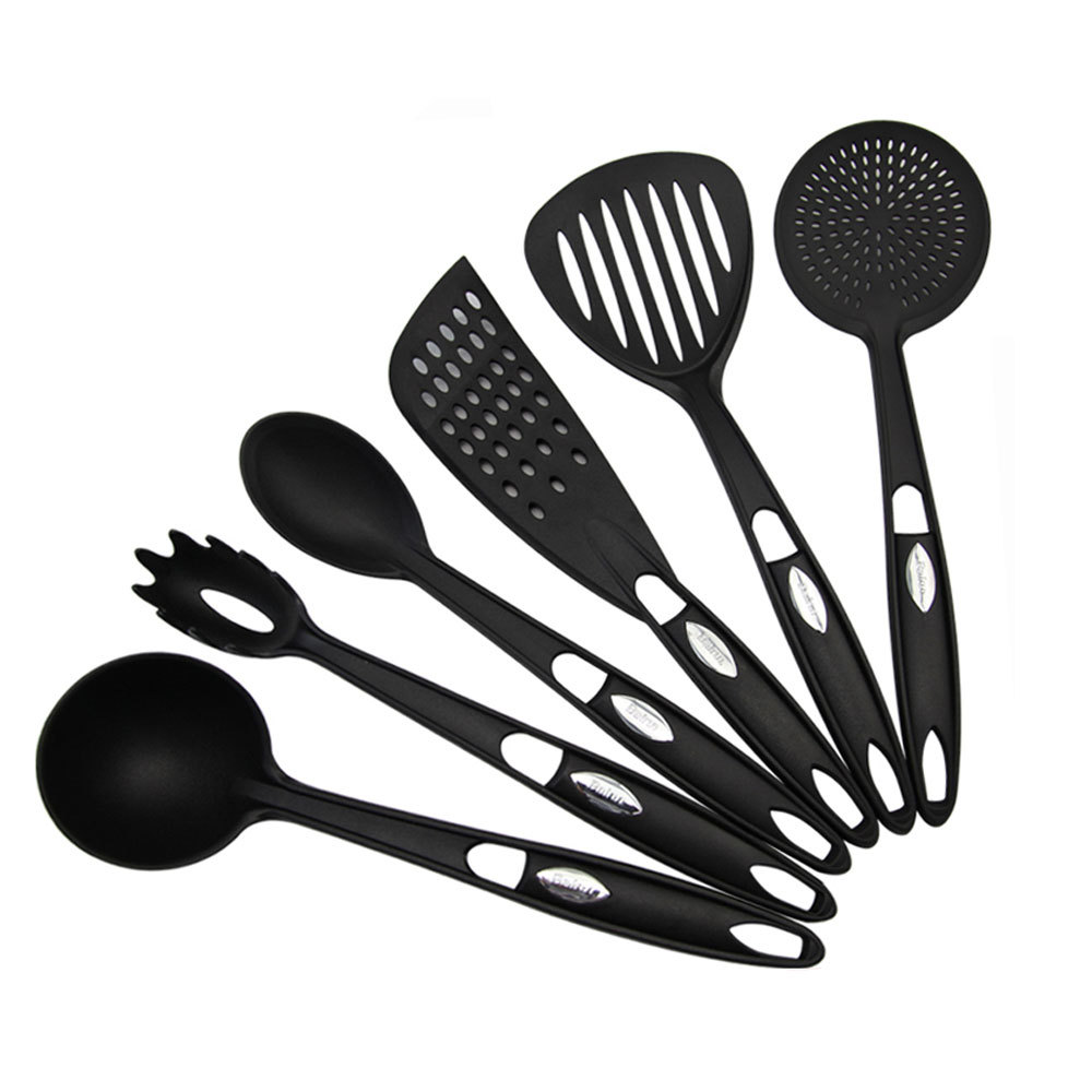 Food safe black nylon 6pcs kitchen cooking tools set of for Kitchen tool set of 6pcs sj