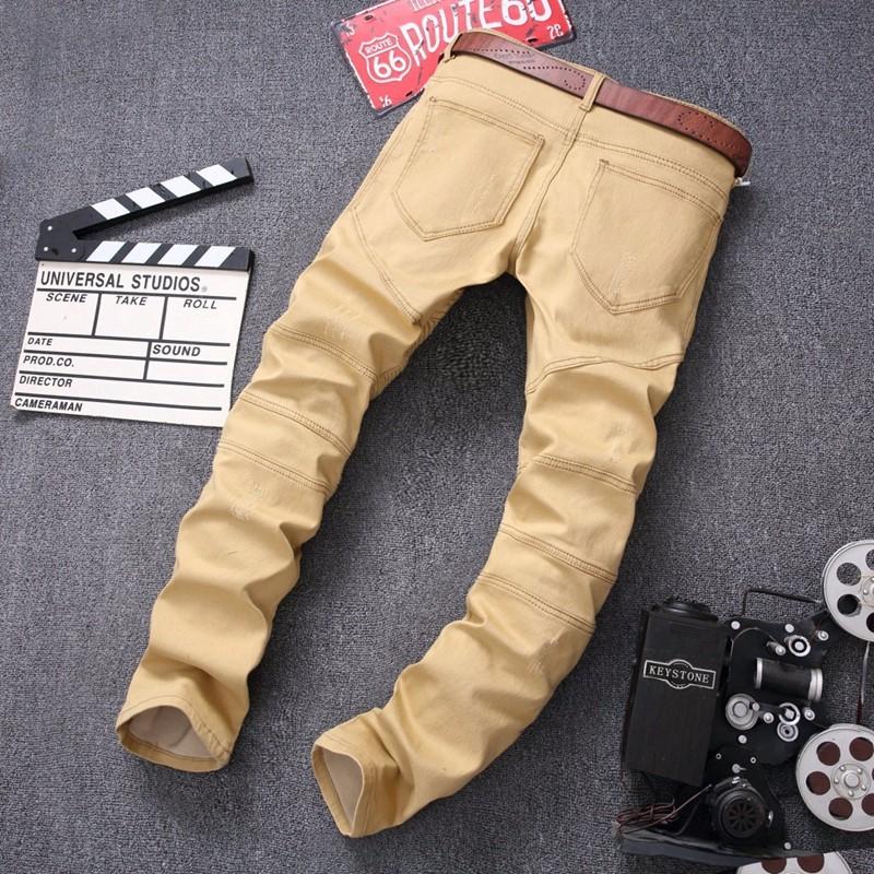 Fashion Hi-Street Mens Khaki Ripped Biker Denim Jeans Famous Brand Designer Skinny Motorcycle Jeans Mens Distressed Moto Jeans