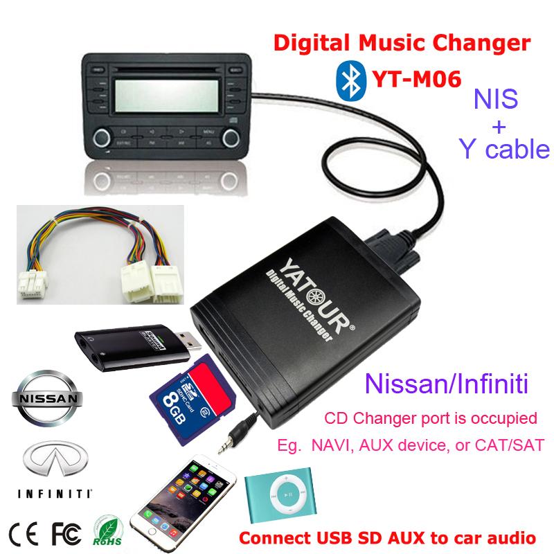Yatour Car Stereo DMC MP3 USB SD AUX Bluetooth handsfree CD Player for Nissan/Infiniti(China (Mainland))