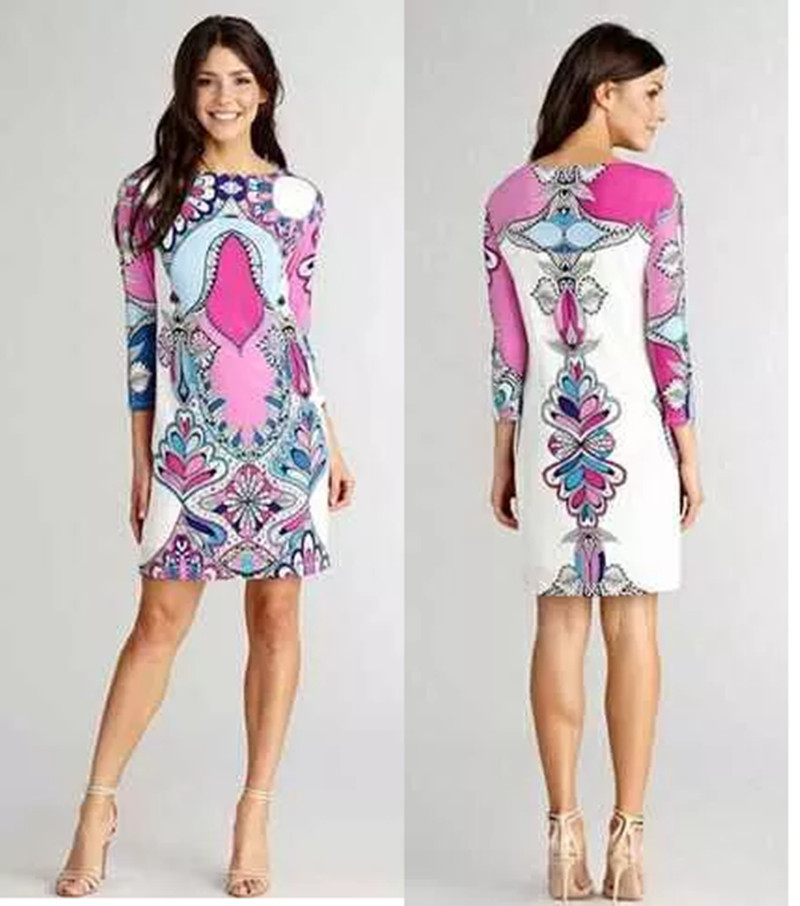 free shipping New Arrival epucci super beautiful Classic elegance positioning printed purple Slim silk Stretch Knit Dresses(China (Mainland))