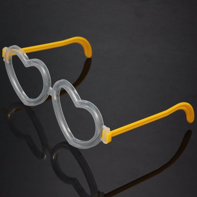 Heart Shaped Pattern Glasses Frame Glow Eyeglasses Plastic Frame Luminous Flashing Lights Up No Lens Party Concert ChildrenToy(China (Mainland))