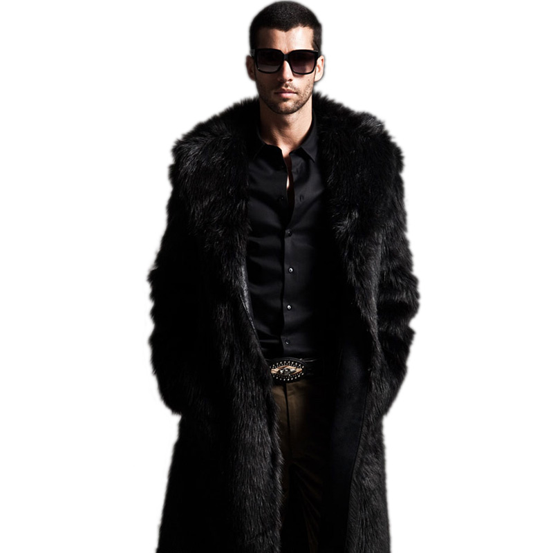 Winter Mens Eco-friendly Faux Fur Coat Jackets Full Length Parka Coats Windbreaker Size XXXL 4XL Men Overcoat