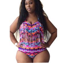 Big Size Bandage Bikini Swimsuit High Waist Padded Tassel 3XL Plus Size Swimwear for Women Large Fringe Bikini Set Bathing Suit(China (Mainland))