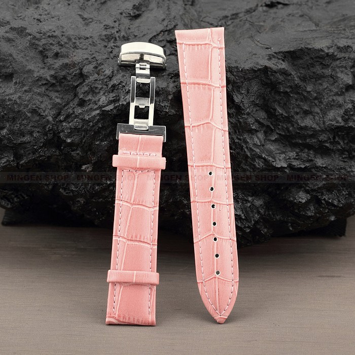 Young Durable Deployant 12/14/16/18/20/22/24mm Pink Genuine Leather Strap Steel Push-Button Hidden Clasp Unisex Watchband - fashion watch store