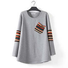 Long Sleeve T-shirts Women Tops Tees Plus Size 3XL Casual O-neck T-shirt 2016 New Spring Striped Pockets Long Tops KK169(China (Mainland))